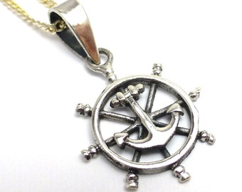 Anchor Ship Wheel Bead Pendant ONE Perfect for Necklace Focal Charm Sterling Silver Nauticle Masculine Large Mens Jewelry Luck Fishing Boat