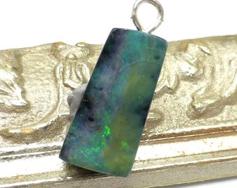 Boulder Opal Bead Pendant Australian Coober Pedy Square Rectangle Handmade Designer One of a Kind Authentic Natural