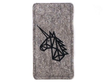 Mobile phone Pocket made of wool felt with geometric Unicorn, made to measure for your Smartphone