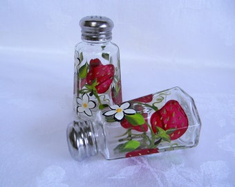 Salt and pepper shaker, hand painted shaker set, shaker set with strawberries, glass salt and pepper set, kitchen decor