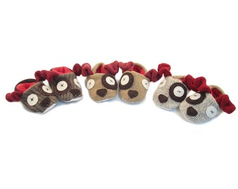 Cate and Levi Handmade Soft Dog Baby Slippers (Premium Reclaimed Wool and Eco-Friendly Fleece)