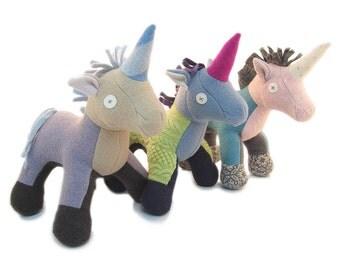 Cate and Levi Handmade Softy Unicorn Stuffed Animal (100% USA Polar Fleece)