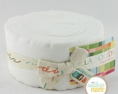Bella Solids White by Moda- Quilt Fabric Strips - 1 Jelly Roll