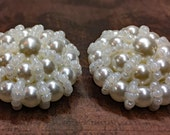 Pearl Wedding Buttons - Vintage Pearl and White Seed Bead Buttons - New Old Stock - White Fancy Buttons - B27 - Set of 2
