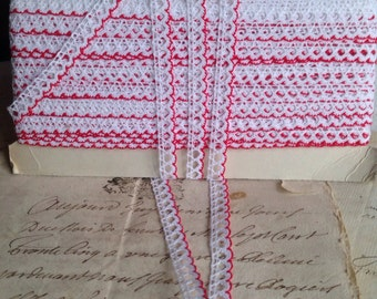 Vintage Lace Trim. White & Red Lace 5 Yards French Haberdashery Dolls Bears Ballet. Home Furnishings, Sewing Supplies NOS