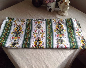 Vintage French Fabric Cotton Curtain Panel/ Green Yellow & White Floral Pattern/ Home Decor 184cm x 97cm Furnishing Projects