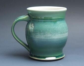Pottery coffee mug, ceramic mug, stoneware tea cup jade green 16 oz 3944