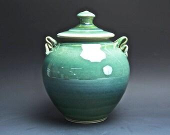 Handmade pottery cookie kitchen stoneware storage jar jade green 4016