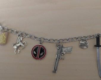 Deadpool inspired charm bracelet