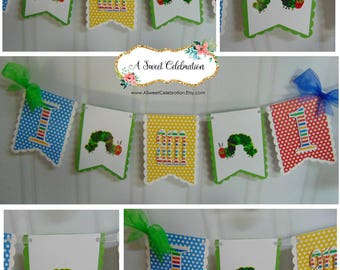 Very Hungry Caterpillar 1st birthday party decorations,  high chair banner, ONE banner, Eric Carle