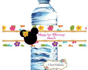 Minnie luau birthday water bottle label - 20 waterproof printed labels