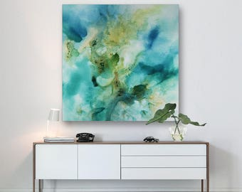 Large Abstract seascape giclee print on canvas from painting vertical blue turquoise white 'Golden treasures I' 582