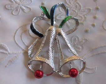 Vintage Silver Tone Christmas Bells Brooch with Enameled Bells and Ribbon From Gerry's