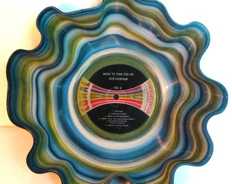 Up-cycled Painted Record Bowl