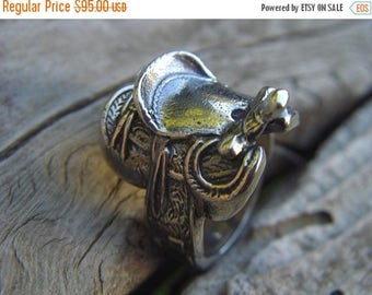 ON SALE Western saddle ring in sterling silver