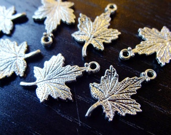 Destash (8) Detailed Maple Leaves Charms - for pendants, jewelry making, crafts, scrapbooking