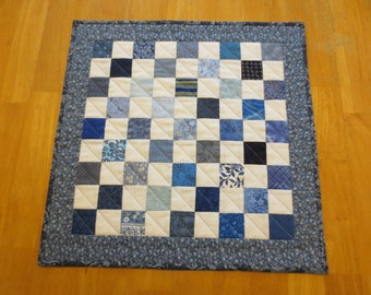 Blue and White Quilted Table Topper/ Small Quilt, Checkered Design