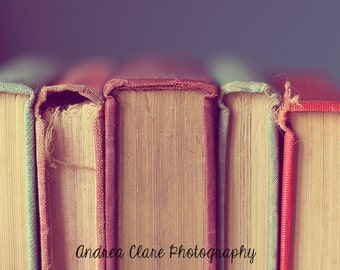 Old Books Photograph, Photography, Spines, Books, fray, antique, Old, Vintage, Color, Still life, rustic, library, book, green, red, print