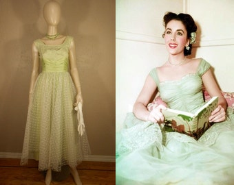 Lime Twist Surprise - Vintage 1950s Lime Green Rayon Chiffon White Lace Overlay Cocktail Dress -