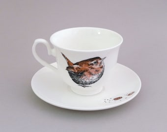 Wren & Cookies Tea Cup and Saucer