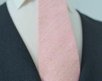 Pink Ultra Raw Silk Neck Tie