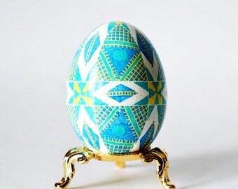 Blue Pysanka Ukrainian Orthodox Easter egg symbol of new life baby announcement gender reveal egg baby boy Baptism gift from Godmother