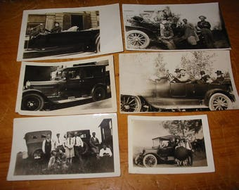 Antique Automobile Photograph Lot of 6 Old Automobile Snapshots Antique Automobile Genre Photographs Old Automobile Group  Photos Old Cars