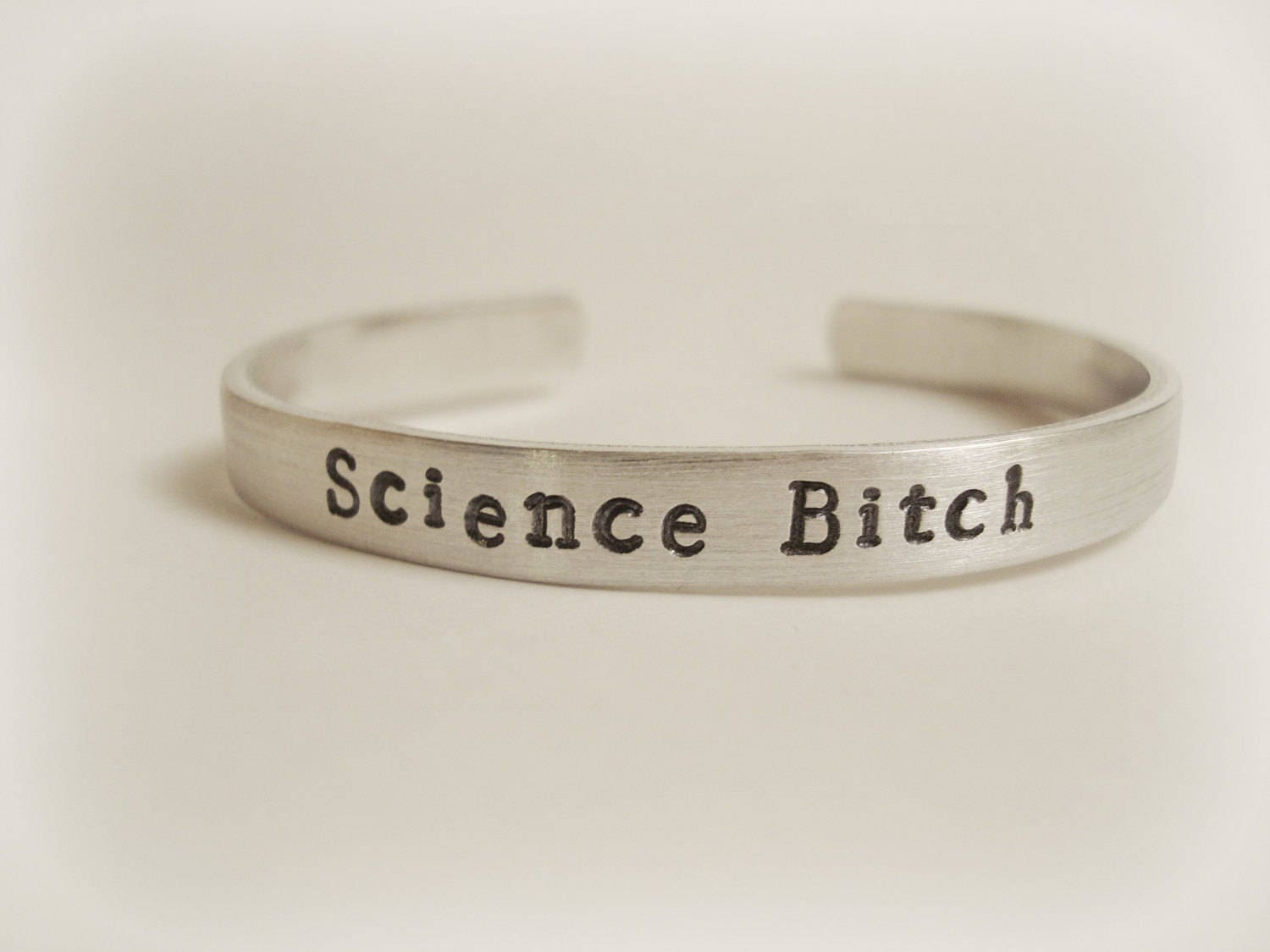 Science Bitch Hand Stamped Breaking Bad Aluminum Bracelet