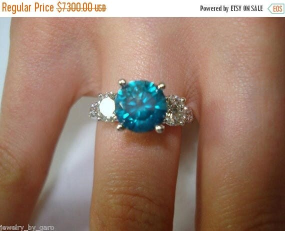 ON SALE Blue Diamond Engagement Ring 2.88 Carat Three-Stone 14k White Gold Certified Handmade Unique