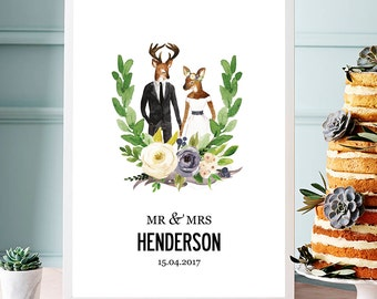 Illustrated Personalized Wedding Print - Antlers. Medium sized poster print A3