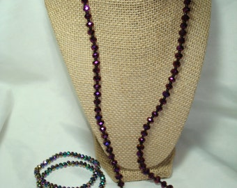 Purple Sparkly Rondelle Crystal Beaded Necklace and Bracelet Set.