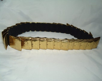 1980s Heavy Golden Shield Like Square Disc Roman Like Metal Belt