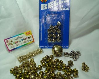 Grouping of Silver and Gold Tone Metal Jingle Bells in Large and Small Sizes.