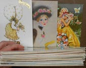 58 Vintage Retro French Saint Catherine Postcards Sarah Kay Holly Hobby Style Wide Doe-Eyed Children