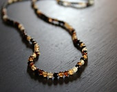 Mens Beaded Necklace, Patagonia Mulit-Colored Glass Beads, Mens Jewelry, Long Necklace, Brown Beads