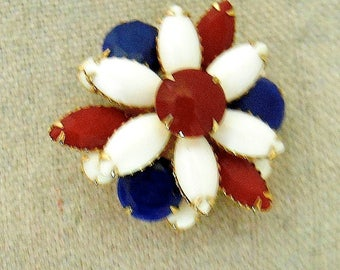 Vintage Enamel Brooch Red White and Blue Patriotic Pin for July 4th or Veterans Day