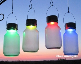 2 Mason Jar Solar Color Orbs Outdoor Garden Decor Accent Lights Rotating Color Changing Frosted Mason Jar Solar Lights