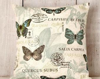 Butterfly Pillow Cover - Blue Green Pillow - Celadon Green - Botanical Throw Pillow - Butterflies - Summer PIllow