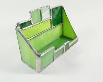 stained glass business card holder desk accessory first job gift graduation gift - Business Card Holder Desk