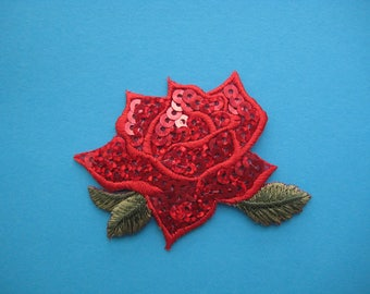 Iron-On Sequins Patch Red Rose 2.5 inch