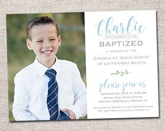 Boy LDS Baptism invitation, modern baptism invitation, boy, baptism invite, photo baptism invitation: PRINTABLE  (Charlie baptism invite )