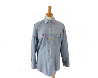 50% off sale // VIntage 70s Embroidered Fruit Vegetable Big Mac Shirt // women M // chambray, blue, country