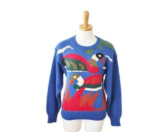 60% off sale // Vintage 80s Duck Royal Blue Sweater - Women M by Crystal