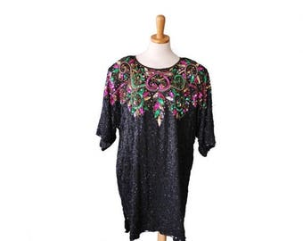 60% off sale // Vintage New Years Sequin and Beaded Tunic Dress - Women 1X - Silk Sack Dress, Plus Size Vintage