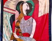 Vintage Large Silk Picasso Cubist Scarf