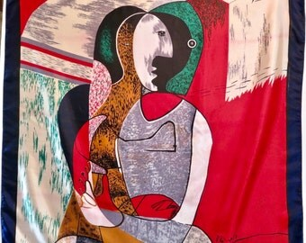 Vintage Large Silk Picasso Cubist Scarf