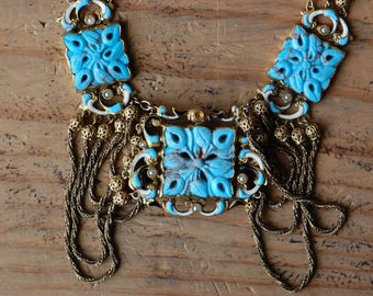 Antique Austrian 1930s turquoise glass festoon necklace