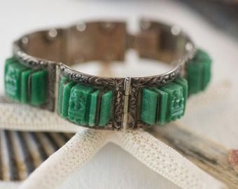 Vintage Mexican Sterling Silver Green Obsidian Carved Mayan Mask Panel Bracelet  .....6275