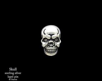 Skull Lapel Pin Sterling Silver Skull