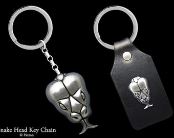 Snake Head Keychain / Keyring all Sterling Silver or Snake on Genuine Leather Key Fob